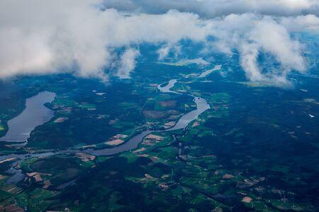 cumuli: sky, clouds and river Stock Photo