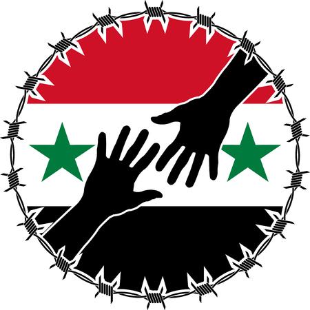 prisoner of war: humanitarian disaster in syria. vector illustration Illustration