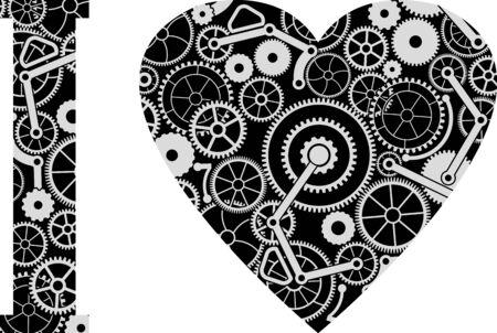 mecanica industrial: amor mecánico. ilustración vectorial Vectores