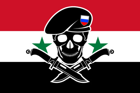 vector skull danger sign: russian special forces and syrian flag. vector illustration