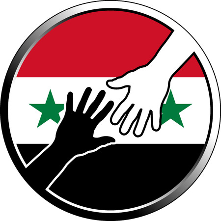 white people: help in syria. vector illustration