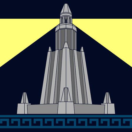 ancient civilization: lighthouse of alexandria. third variant. vector illustration Illustration