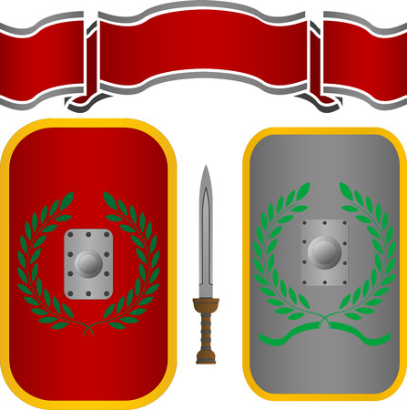 romans: roman shields and sword