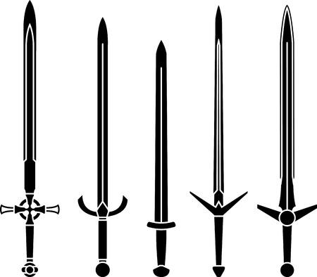 espadas medievales: plantillas de espadas medievales. segunda variante. ilustraci�n vectorial Vectores