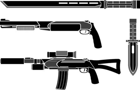 special forces: set of weapons of special forces. vector illustration Illustration
