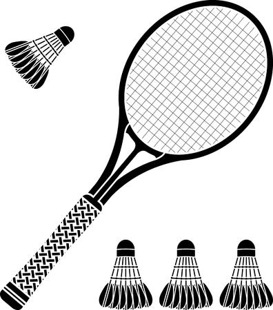 racquetball: la plantilla de la raqueta de bádminton y volantes. ilustración vectorial