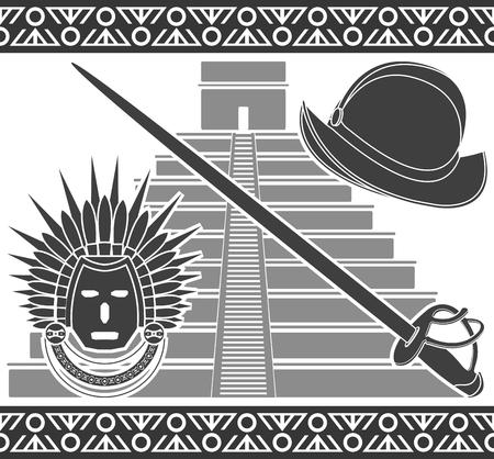 spanish tradition: Conquista. second variant. stencil. illustration Illustration