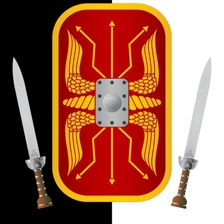ninth: fantasy shield and sword. ninth variant.  illustration