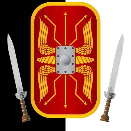 gladius: fantasy shield and sword. ninth variant.  illustration