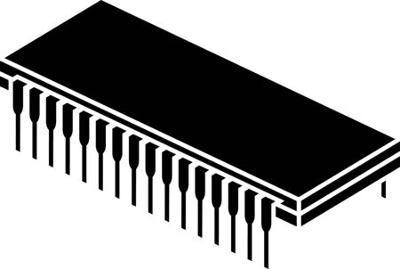 semiconductors: stencil of chip. second variant. illustration
