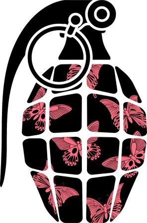 detonating: stencil of glamour grenade. illustration