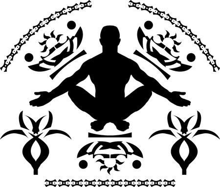 meditation. second variant. vector illustration Illustration