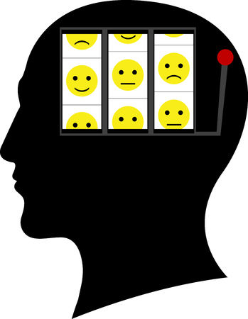 slot in: slot machine for mood in head. vector illustration