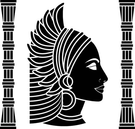 cleopatra: african woman profile. black variant. vector illustration