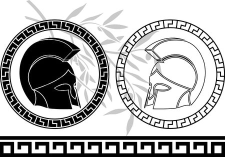 classic classical: fantasy ancient helmets. stencil. fourth variant. vector illustration