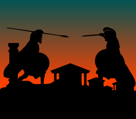 spearman: fight in ancient city. vector illustration