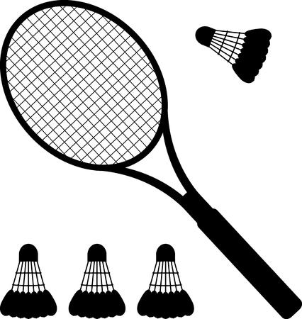 racquetball: silueta de la raqueta de bádminton y volantes. ilustración vectorial