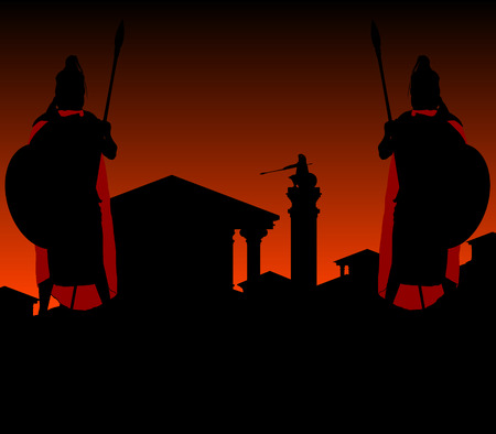 troy: ancient city and guardians. spartans. vector illustration Illustration