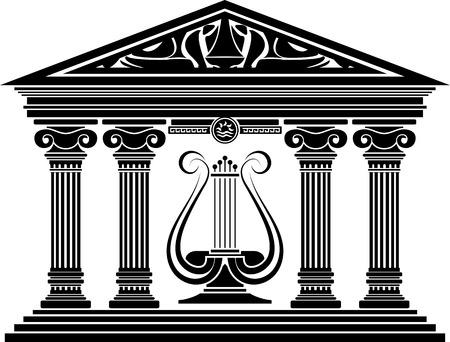 concert hall: concert hall. ancient greek columns. temple. stencil. vector illustration Illustration