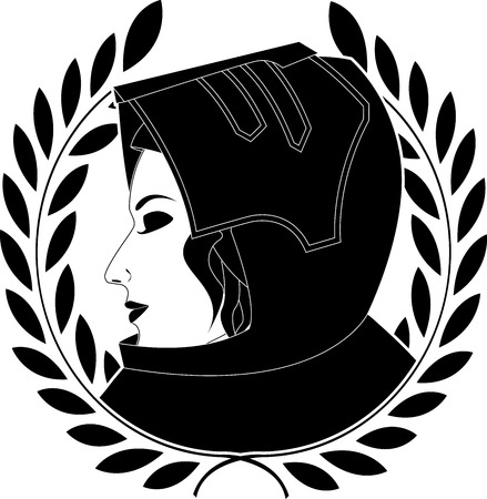 jeanne darc and laurel wreath. Maid of Orleans. knight. vector illustration