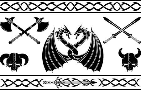 set of fantasy viking signs and patterns. vector illustration Illustration