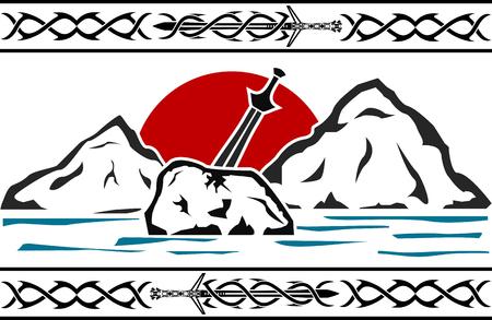 sword in the stone. vector illustration Çizim