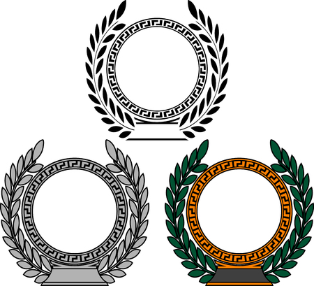 Set of frames with laurel wreaths vector illustration. Çizim