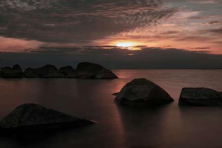 stunningly beautiful sunset view over the Baltic Sea 版權商用圖片