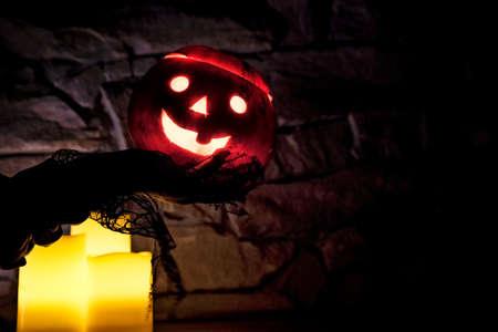 Halloween pumpkin with burning lights