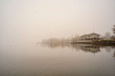 morning fog in Haapsalu town. Estonia
