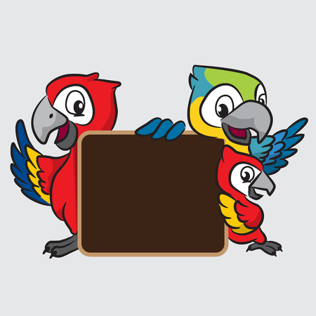 macaw: A Macaw cartoon with board