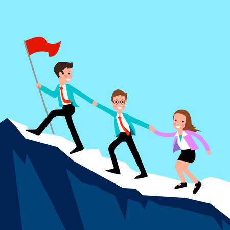Mensen uit het bedrijfsleven klimmen naar de top van de berg