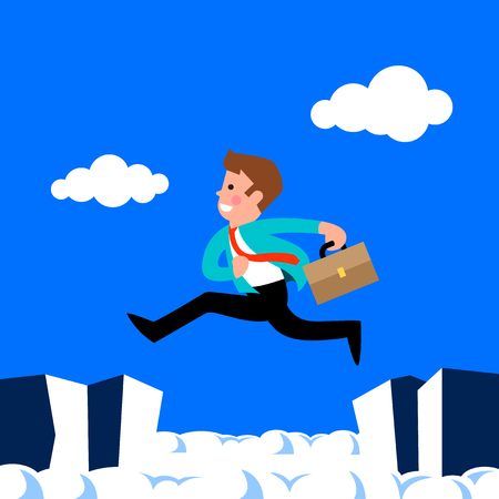 Businessman jump through the gap in the rocks. Ilustracja