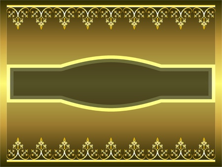 Golden ornamental frame with label space for text illustration Vector