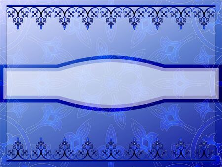 Ornamental blue frame with space for text