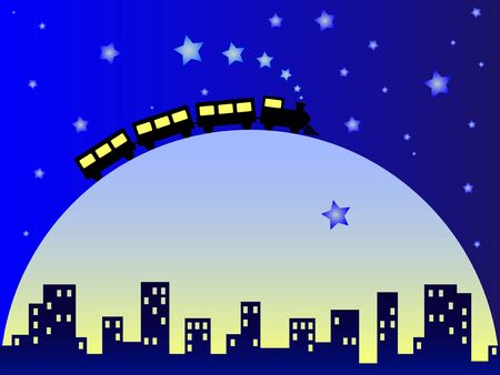 Childish illustration dreamy city with train on big moon Vector