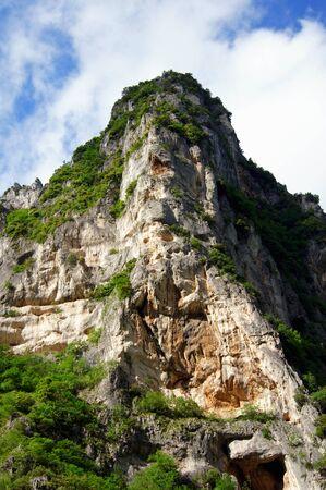 scenical: Sandstone rock cliff in Italy, vertical photo Stock Photo