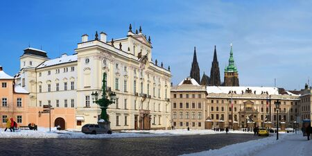 archbishop: Panorama of Prague Castle and Archbishop s palace in winter with snow Editorial