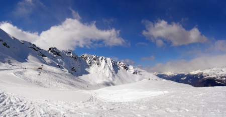 Skiing in the mountains in Alps - Aprica in Italy