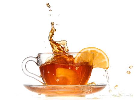lemon tea with a splash on a white background