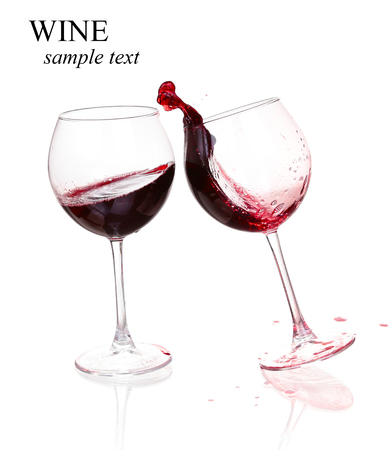 Set of glasses with red wine  (with sample text) Stock Photo