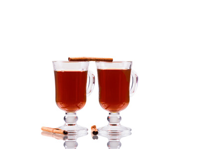 two cups of tea cinnamon isolate on a white background Stock Photo