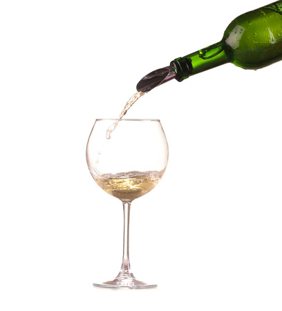poured white wine on a white background