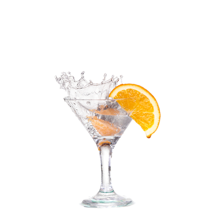 cocktail in a martini glass on a white background with fruit Stock Photo