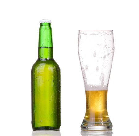 Beer bottle with drops isolated on wgite Stock Photo