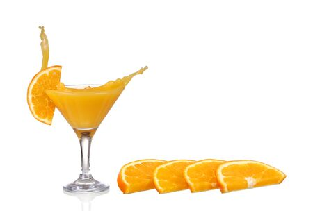 Orange cocktail with splashes. Vector illustration Stock Photo