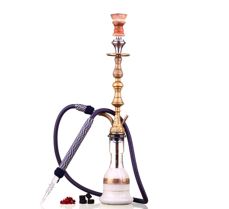 inhalation: Hookah isolated on a white background. Water pipe, hookah tobacco, coal, charcoal Stock Photo