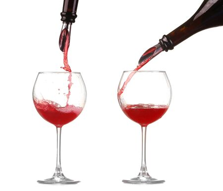 collage red wine pouring into wine glass isolated Stock Photo