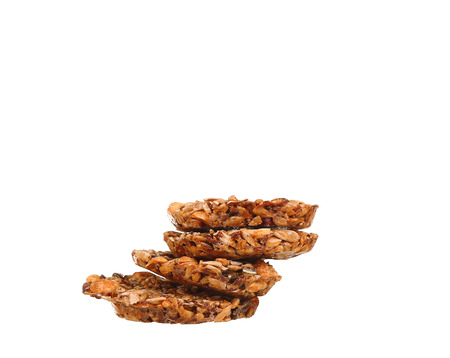 morsels: three chip cookies on white background
