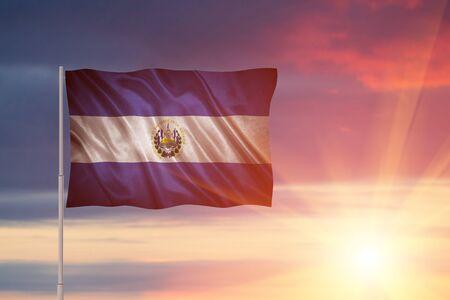 Flag with original proportions. Closeup of grunge flag of El Salvador